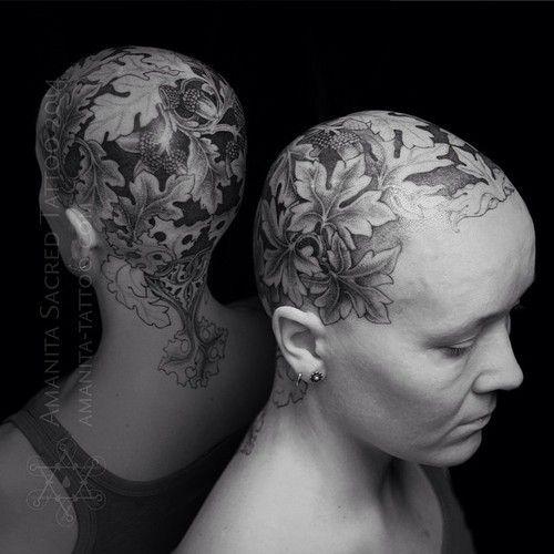 Feminine work by Mike Amanita.  Scalp tattoo