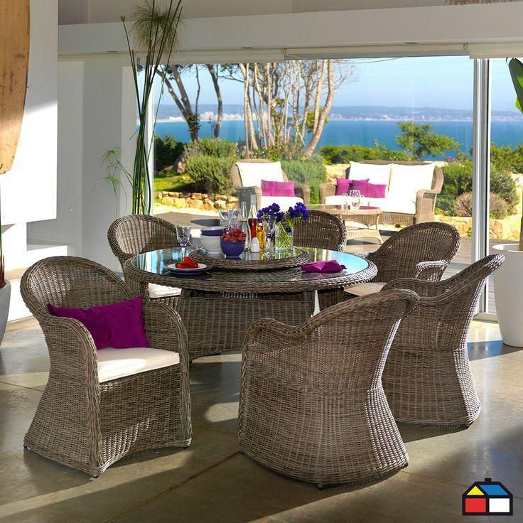 Juego de aluminio con ratán 7 piezas #terraza #jardin