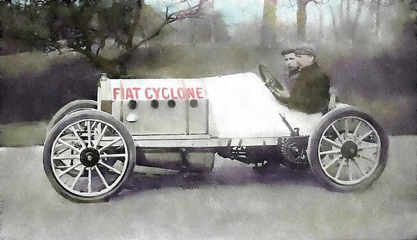 """""""Antique Fiat Racer"""" by David King. The Fiat Cyclone was a race car that raced in the earliest days of automobile racing in the United States and had a long career, unlike the driver Emanuel Cedrino who died while testing the car at Pimlico race track. This image started out as a vintage black and white photograph which I simplified, colorized and processed to resemble a watercolor painting. #davidkingstudio"""
