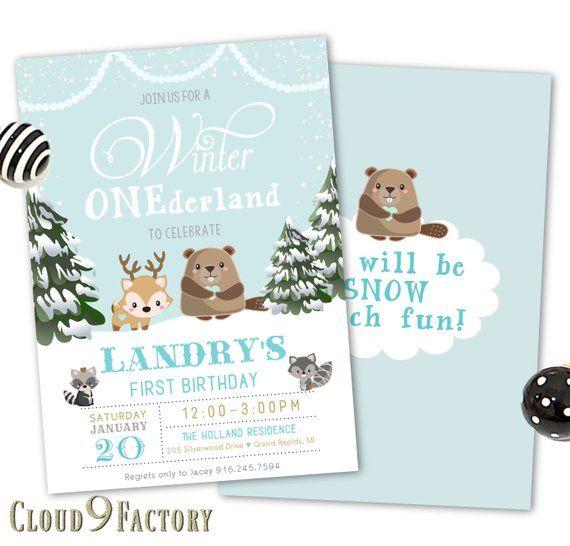 Winter Onederland Birthday invitation winter wonderland invitation Bear invitation first Birthday Winter onederland invitation