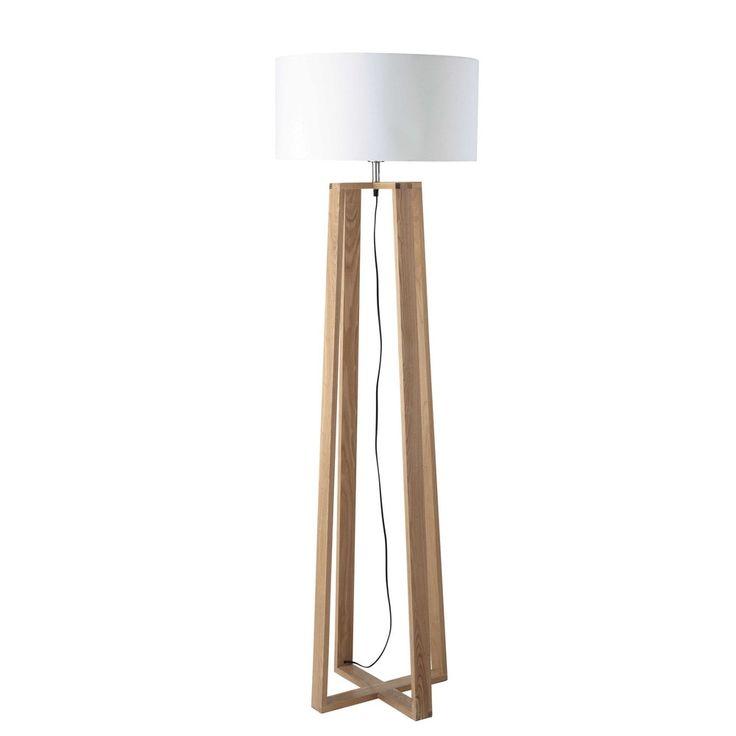Stehleuchte  aus Holz und Baumwolle, H 160cm