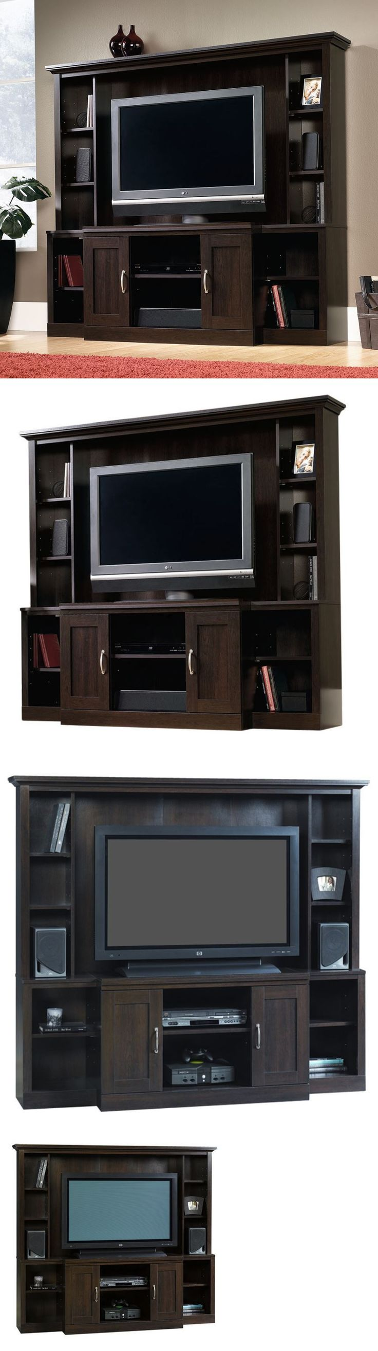 Entertainment Units TV Stands: Entertainment Center Wall Unit Door Tv Stand Flatscreen Media Console Cabinet BUY IT NOW ONLY: $297.95