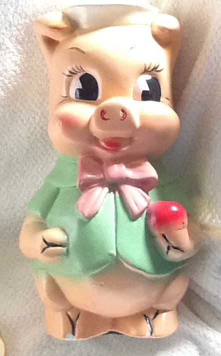 Vintage c.1950s Porky Pig ceramic coin bank by BuyfromGroovy