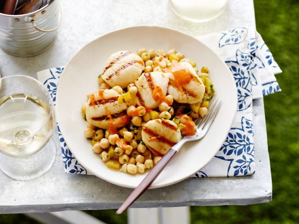 Cumin-Grilled Sea Scallops with Chickpea Salad : Bobby's easy grilled scallops recipe emphasizes two of summer grilling's best attributes: the lightness of ingredients and the freshness of flavors.