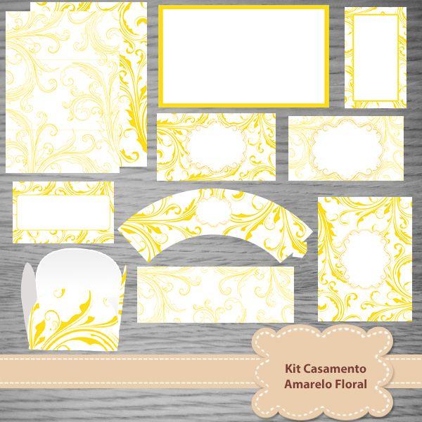 Kit Banheiro Casamento Floral : Kit casamento amarelo floral mod festa