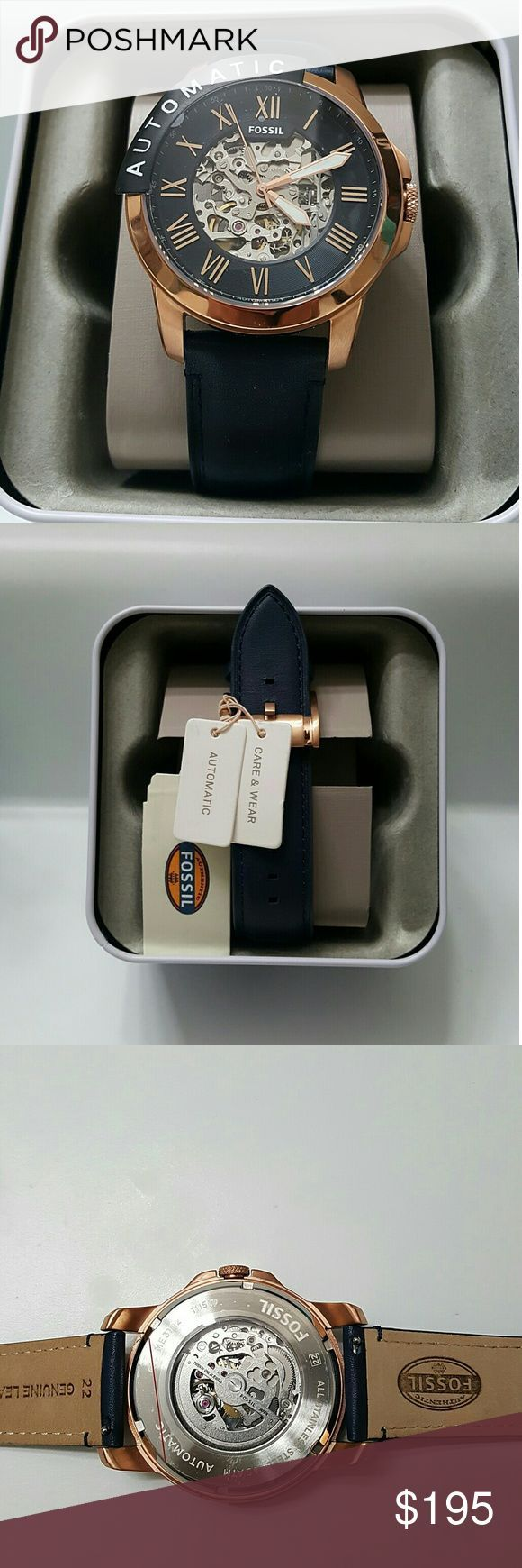 NWT fossil automatic rose and blue watch NWT fossil Men's Automatic Rose Gold SKELETON leather Strap Watch?    Firm PRICE?  $195.00  . AUTHENTIC WATCH?  . AUTHENTIC BOX?  . AUTHENTIC MANUAL?    SHIPPING?  PLEASE ALLOW FEW BUSINESS DAYS FOR ME TO SHIPPED IT OFF.I HAVE TO GET IT FROM MY WAREHOUSE.    THANK YOU FOR YOUR UNDERSTANDING. fossil Accessories Watches