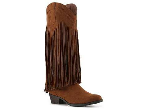Cognac brown fringe western boots for women | I would totally rock these in the spring.