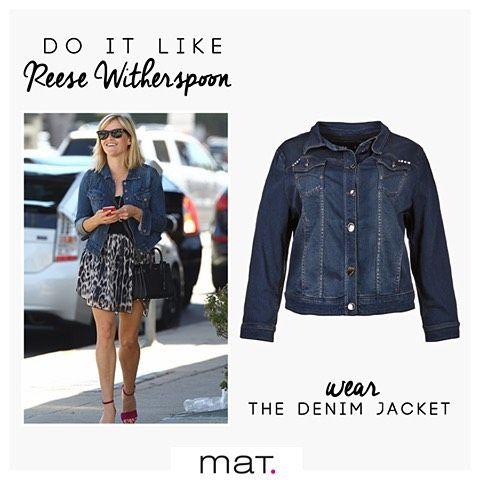Do It Like... Reese Witherspoon! Η γλυκιά ηθοποιός αγαπάει το denim jacket της και δεν το αποχωρίζεται! Το συνδυάζει με τα αγαπημένα της jeans αλλά και με χαριτωμένα φορέματα! Απόκτησε και εσύ το διαχρονικό αυτό #matfashion κομμάτι με κωδικό 662.4017 #fallwinter2016 #denim #jacket #collection #fashionista #style #ootd #inspiration