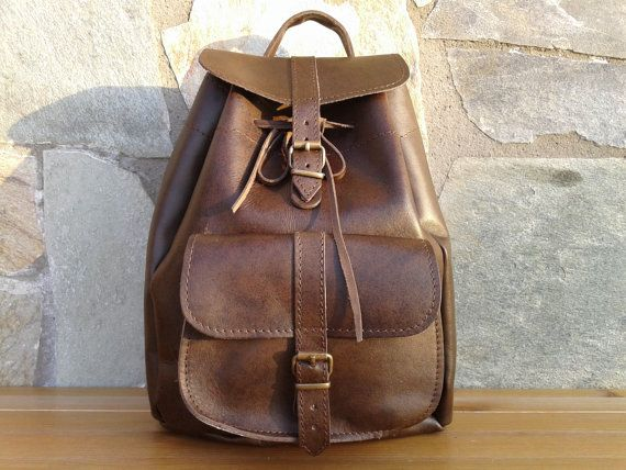 Leather Backpack Dark Brown Handmade Small size by MagusLeather, €80.50