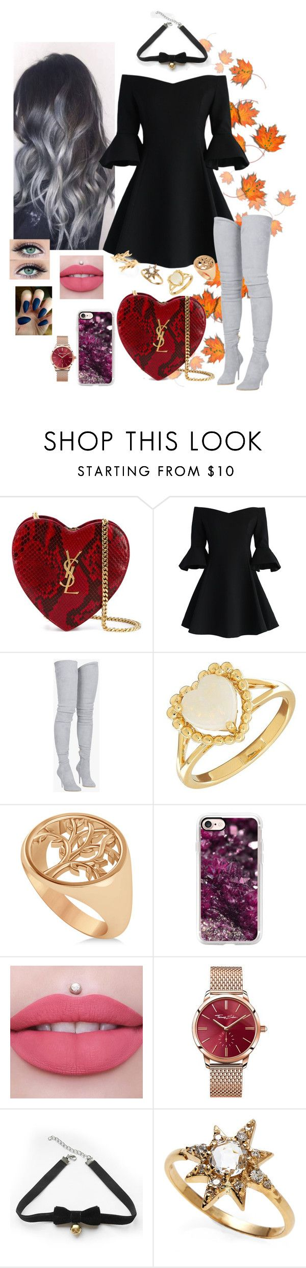 """Sem título #1143"" by anaritaferreira on Polyvore featuring moda, Yves Saint Laurent, Chicwish, Balmain, Lord & Taylor, Allurez, Casetify, Thomas Sabo, COS e Anzie"