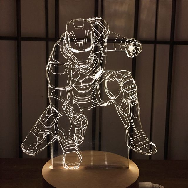 Из светодиодов 3D ночник железный человек украшения дома лампы атмосфера Caderno праздник подарок на день рождения