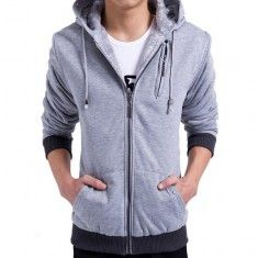 Men's Winter Solid Color Zipper Hooded Cotton Coat Thickened Warm Jacket