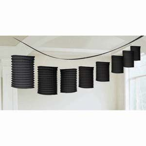 A22055/10 - Lantern Garland - Black Lantern Garland Black Contains 8 x paper lanterns (10cm x 16cm) on a garland (3.65m). Please note: approx. 14 day delivery time.
