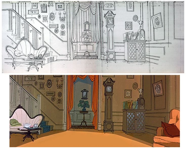 "Original background illustration and final painting from  ""101 Dalmatians"", by Walt Peregoy."