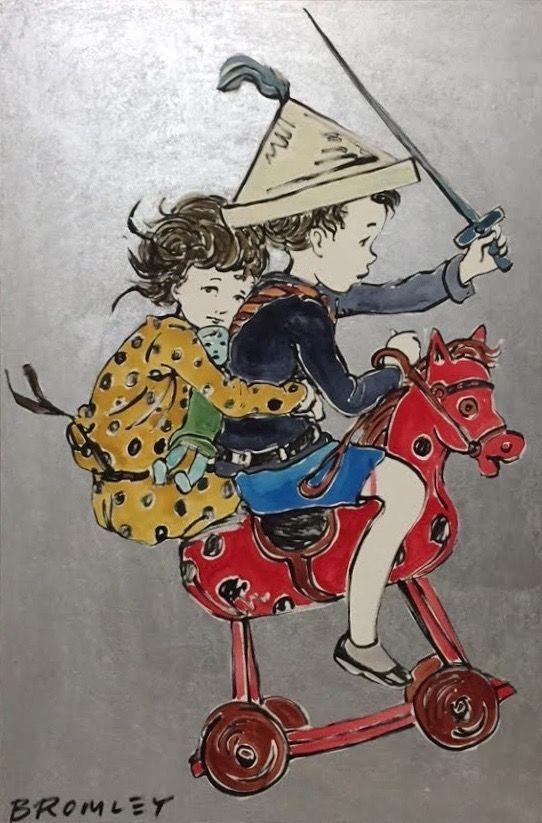 DAVID BROMLEY Children Series Rocking Horse Polymer Painting 119cm x 79cm
