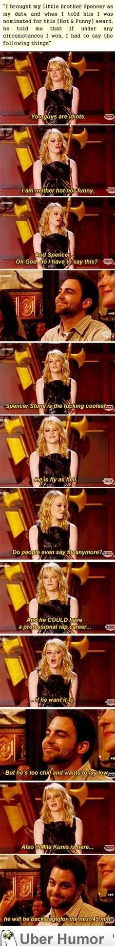 Emma Stone's brother messing with her   funny pictures