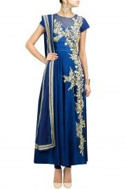 Cobalt blue zardosi embroidered anarkali set