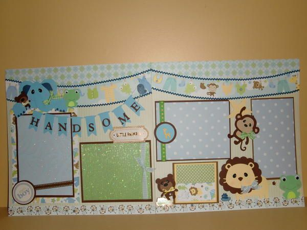 Layout: Handsome Little Animals I hadn't thought of using patterned paper as photo mat.