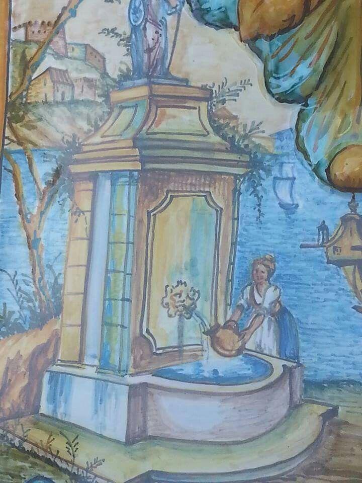 Particolare decoro frontale ripreso dalle vedute delle maioliche di S. Chiara Napoli