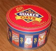 1992 QUAKER OATS TIN LIMITED EDITION ROUND PRINTS OF OLD LABELS QUAKER OATS TIN