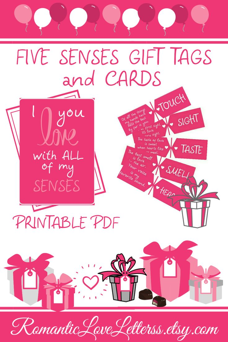 5 senses printable gift tags anniversary gifts for