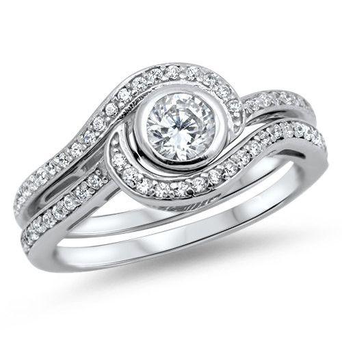 Cute Classic Fancy Wedding Engagement Anniversary Bridal Ring Matching Band Set Carat Round Bezel Russian Diamond