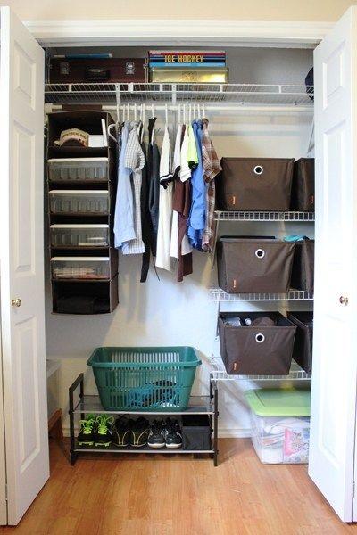 Organized Teenage Boy Closet Closet Bedroom Bedroom Organization Closet Teenage Boy Room Male bedroom storage ideas