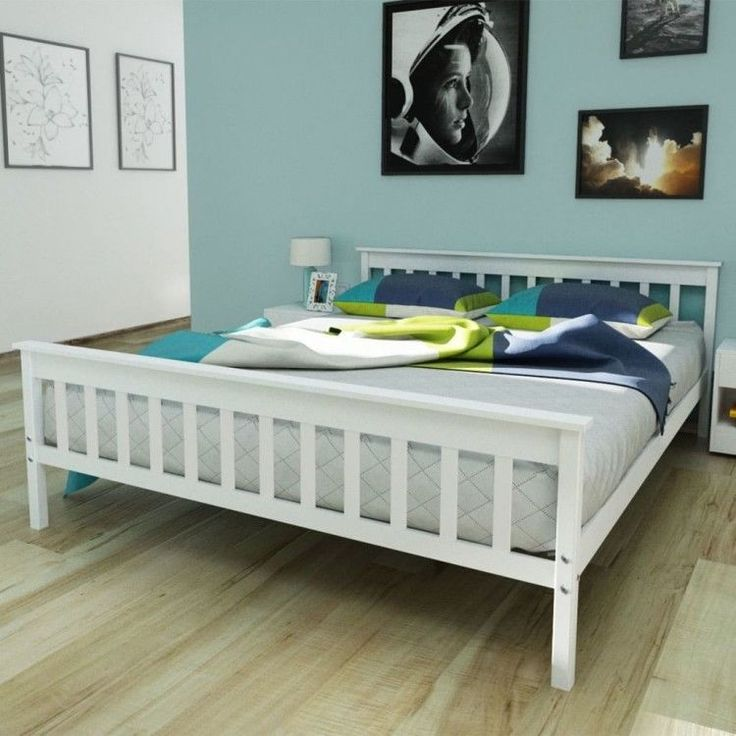 White Wooden Double Bed 5FT King Size Solid Wood Pinewood Home Bedroom Furniture