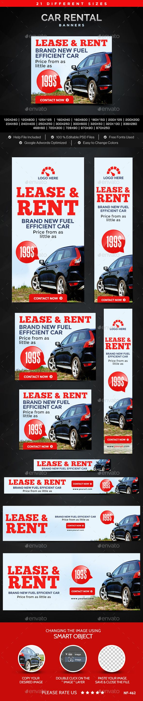 Car Rental Banners Template #design #web Download: http://graphicriver.net/item/car-rental-banners/11932721?ref=ksioks