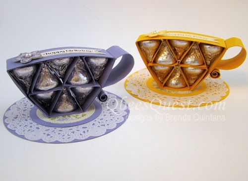Brenda's fabulous Hershey's Kisses Tea Cup Tutorial. All supplies from Stampin' Up!