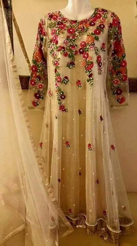 White anarkali with red embroidery   perfect for a bridesmaid or guest…