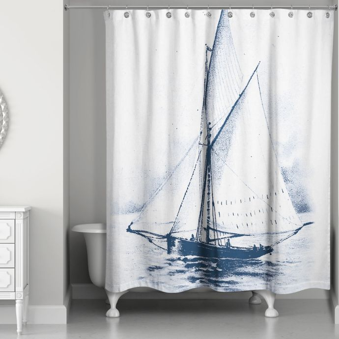 Designs Direct White Sailboat Shower Curtain In Blue White