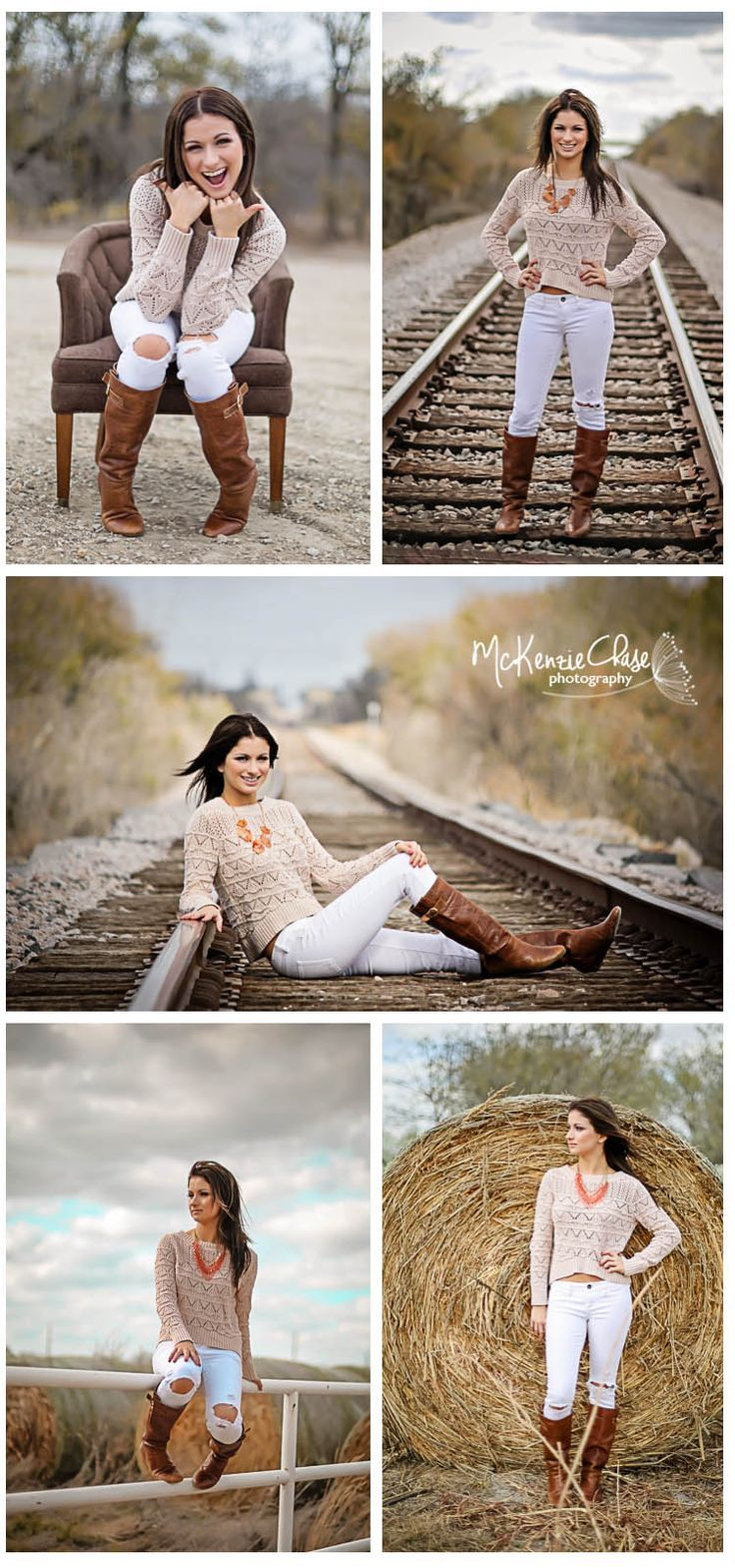 Senior Photography - Senior Poses - country - boots - train track - natural - brown chair - hay barrel