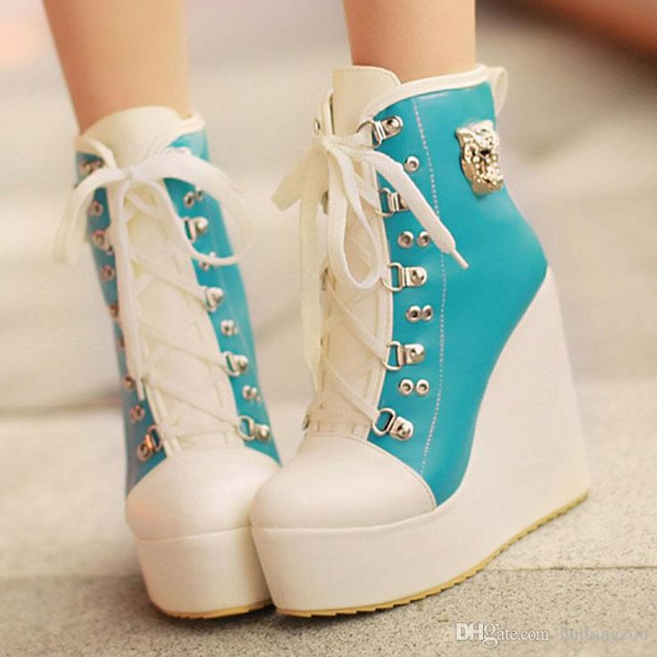 9f8fd9848aad New Styles PU Chalaza Lacing Blue Round Closed Toe Wedges Super High Heel  Boots
