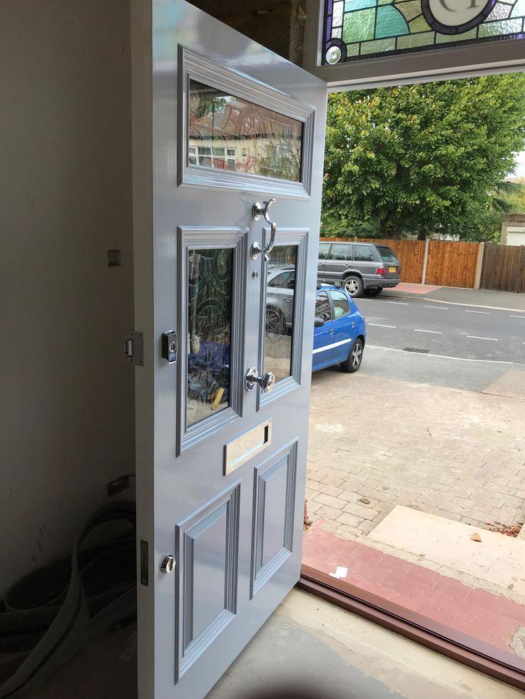 Beautiful pale blue London door