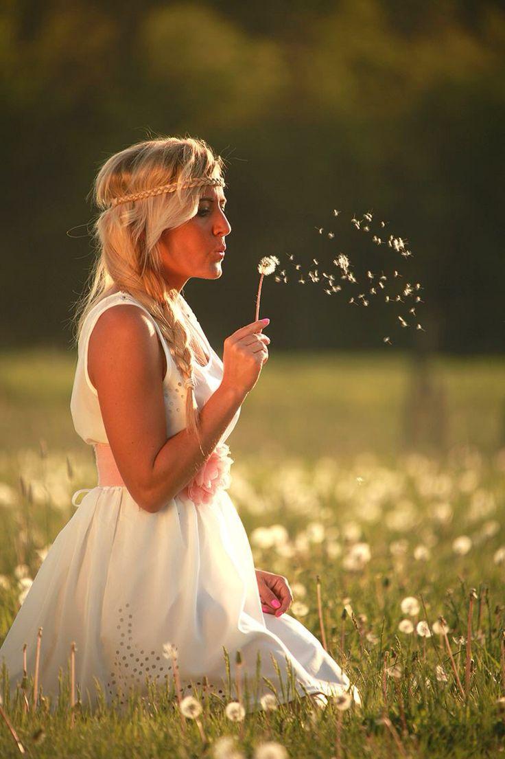 #Adri #spring #hippie #white dress #dandelion girl #meadow