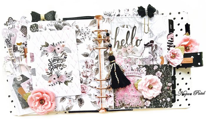 """""""Hello, everyone! Live, Love, Laugh! Be happy all along! Here's my dashboard for April 2017 in the gorgeous """"Breathe In"""" Planner using the amazing Dies along with the beautiful Rose quartz collection."""" ~ Nupur Patel #myprimaplanner #plannerlove #dividers #spread"""