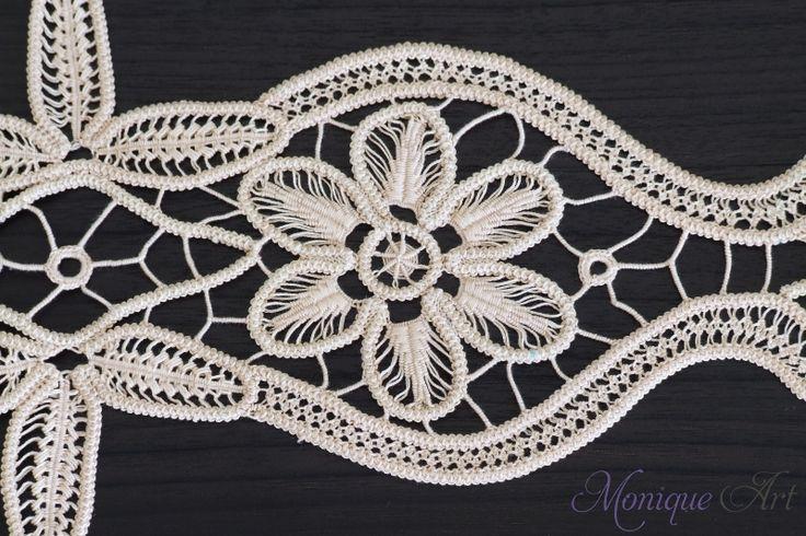 Cream handmade point lace crochet
