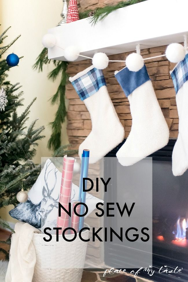 DIY, No-Sew Stockings. Make your own, custom Christmas stockings using upcycled plain stockings, festive fabric, and Elmer's CraftBond Hot Glue! Just cut, glue, and you're done!