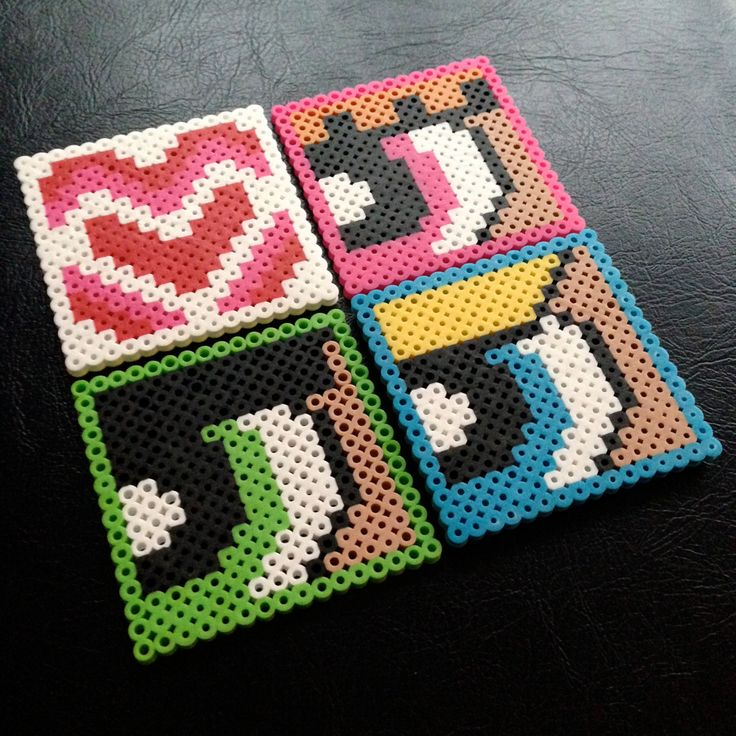 Powerpuff Girls Coaster Set perler beads by JudesMagicBeadstalk