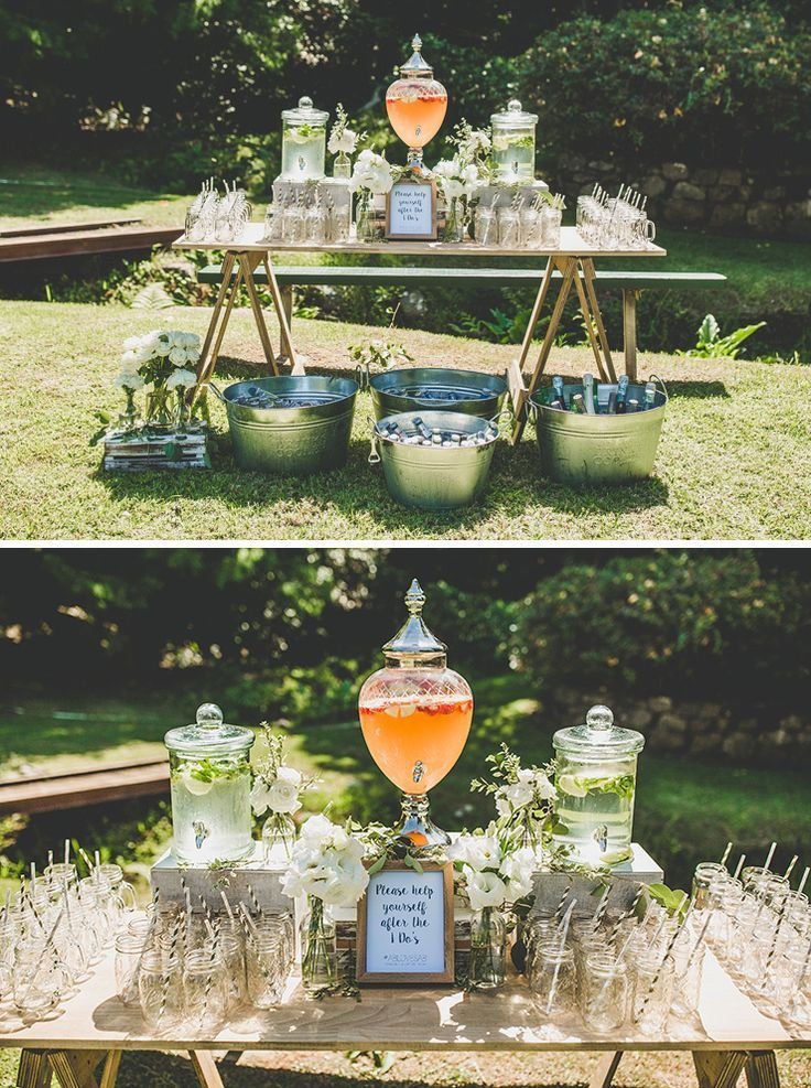 Fresh Wedding Ideas From Volume 11 Backyard Engagement Parties Outdoor Wedding Decorations Wedding Drink Station