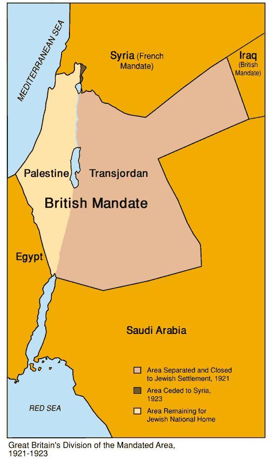Map of The British Mandate (1921-1923)   Jewish Virtual Library