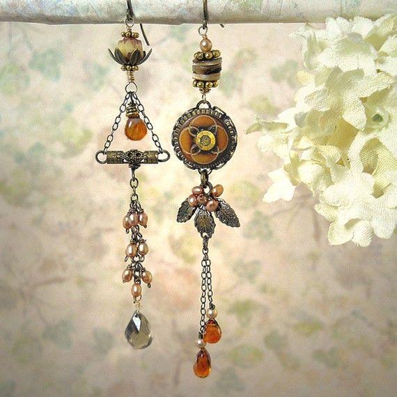 Indian Summer Earrings - Autumn Wedding - Fall Harvest Earrings - Unique Rust Cognac Cinnamon Spice Brandy via Etsy