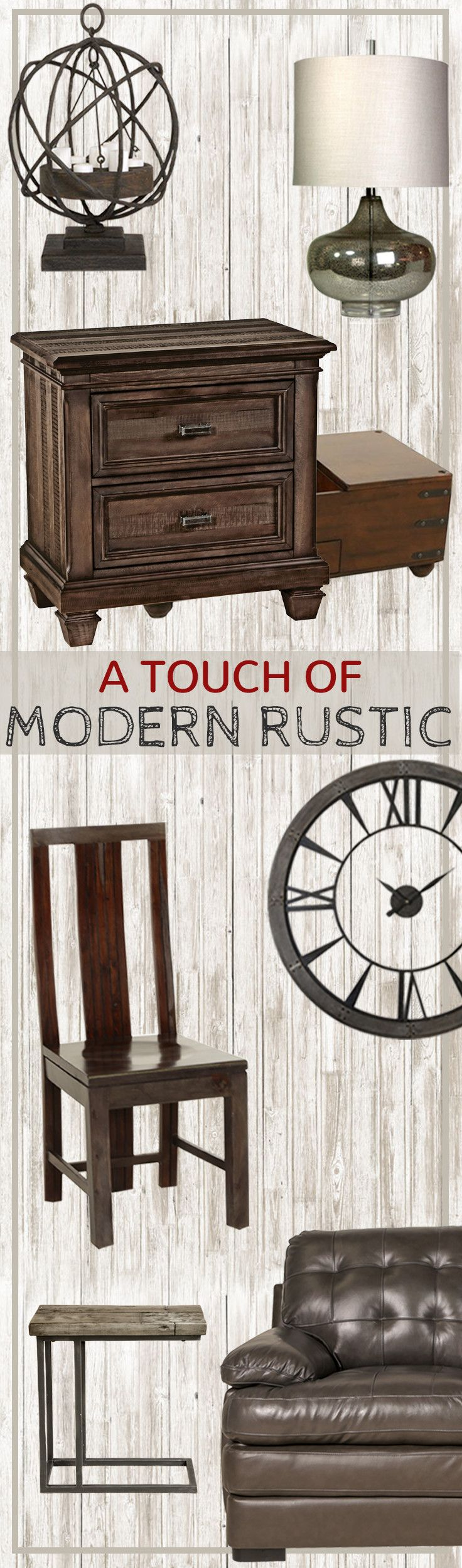 If you love a woodsy sophistication with a dash of glam, then modern rustic is the perfect style for your home! Achieve the look with modern furniture pieces made from wood or leather that are designed with clean lines. Compliment the furniture with décor featuring natural elements such as wood, metal, or stones.