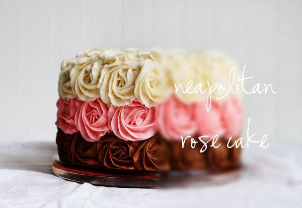 ...Neapolitan Cake, Frostings Recipe, Cake Design, Cake Ideas, Wedding Colors, Rose Cake, Layered Cake, Cake Art, Neapolitan Rose