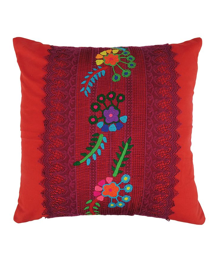 Karma Living Red Lace Embroidered Throw Pillow » Gorgeous!