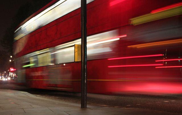 Slow shutter speed capturing a London Bus