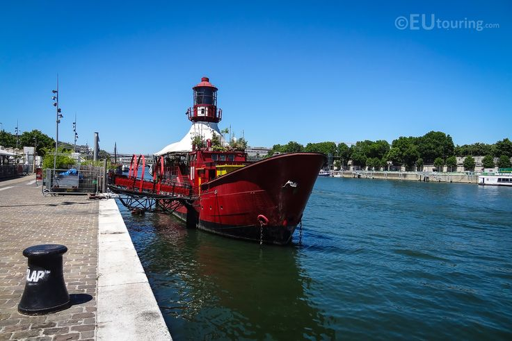 Here you can see an old lighthouse boat, known as Le Batofar, which has been converted and now provides music venues, a nightclub and a restaurant at the edge of the River Seine with great views.  More information and details at www.eutouring.com/images_le_batofar.html
