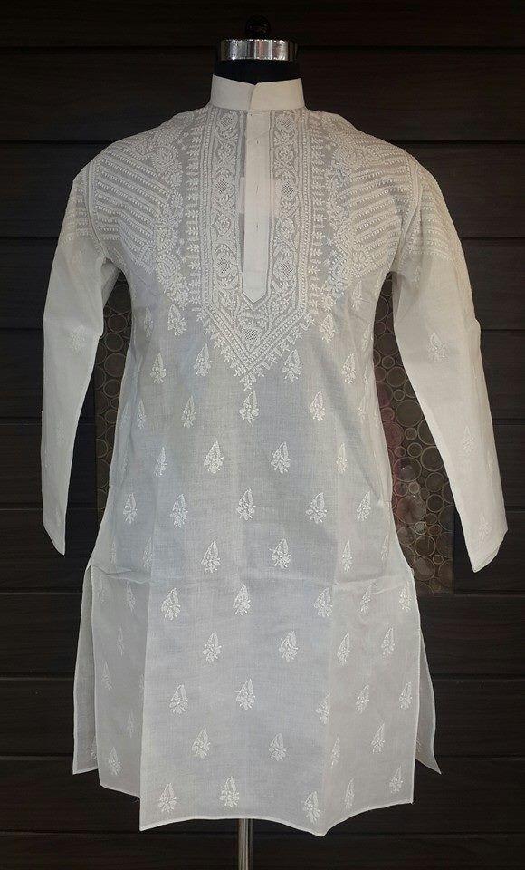 Lucknow Chikan Hand Embroidered Mens Kurta White on White Cotton $31.77