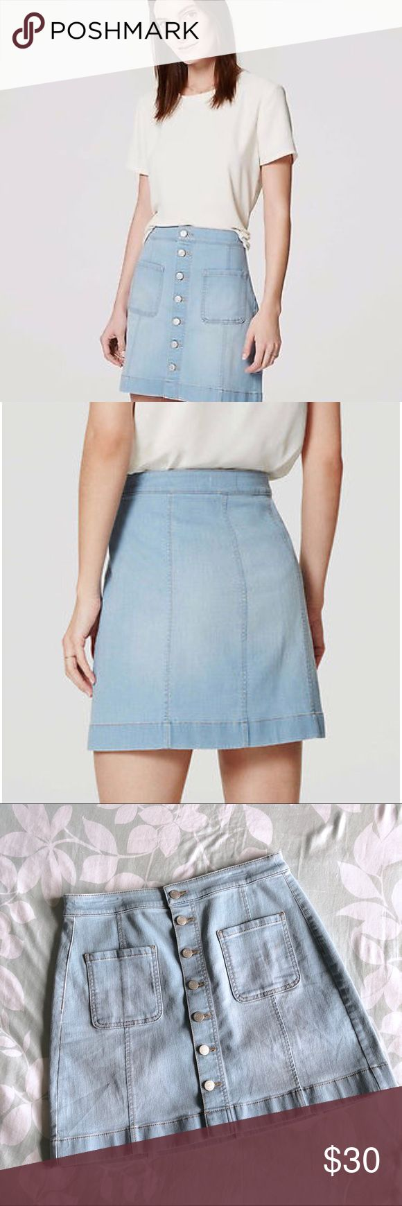 "Loft Front Button Denim Skirt Indulge your denim mood in the most femme way with this button down beauty. Button front. Front patch pockets. Seamed paneling. 17"" long.  92% Cotton, 7% Polyester, 1% Elastane (has some stretch!)   Pet & smoke-free home   No trades   I love offers ✨ Posh Ambassador ✨ LOFT Skirts"